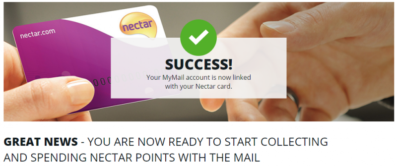 MyMail account linked with Nectar card
